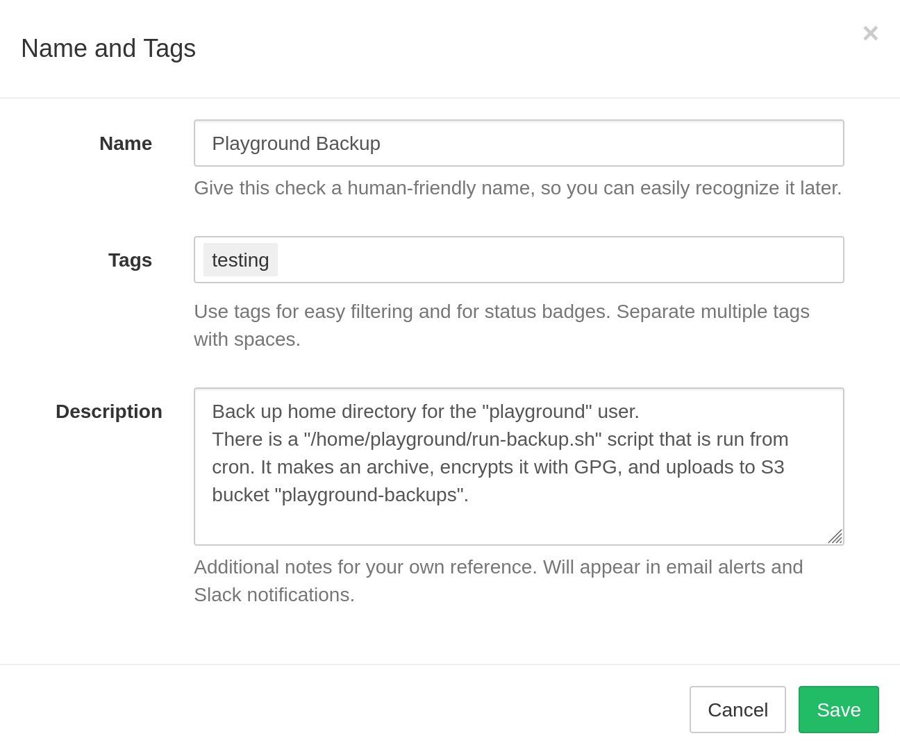 Editing name, tags and description